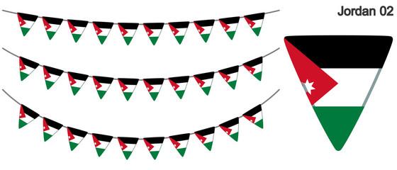 ヨルダンの国旗のガーラーンド ベクターデータ(bunting garland)