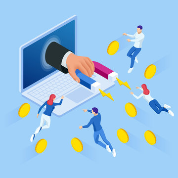 Isometric Businessman holding magnet or marketing magnet engaging followers concept.
