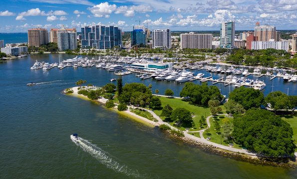 Drone view of Marina Jack from Bayfront park looking North and East with the Sarasota high rise landscape
