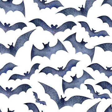 Seamless bat pattern for Halloween on white watercolor background. Decoration for the autumn holiday. Mystical, fabulous, fun style. Bright background for packaging, textiles,