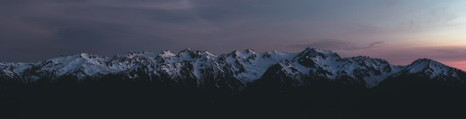 Panorama of Olympic Mountain Range at Sunset