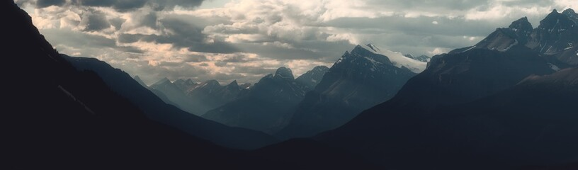 Panorama of dramatic landscape along the Icefields Parkway, Canada
