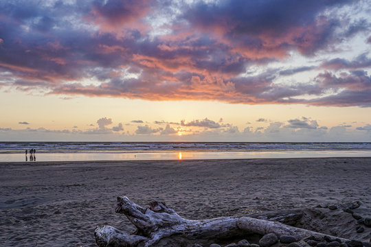The sunset over the ocean at Seaside, Oregon