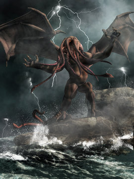 Cthulhu, the great old one of H. P. Lovecraft's mythos stands on rocks in a stormy sea highlighted by lightning. 3D Rendering