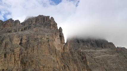 Wall Mural - Summer Dolomites Peaks Covered by Clouds. Misurina, Italy.