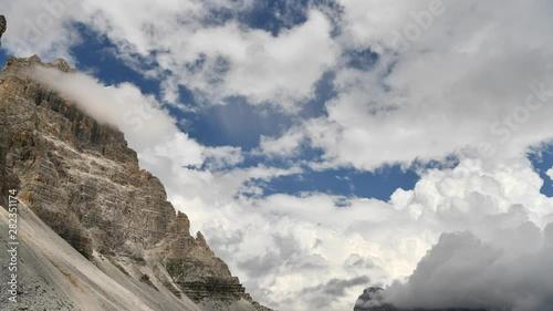 Wall mural Time Lapse Video of Scenic Italian Dolomites Alpine Region Near Auronzo Di Cadore and Misurina.