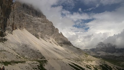 Wall Mural - Scenic Mountain Landscape of Italian Dolomites During Hot Summer Day.