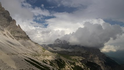 Wall Mural - Stormy Day in the Italian Dolomites. Alpine Region in the Summer Day.