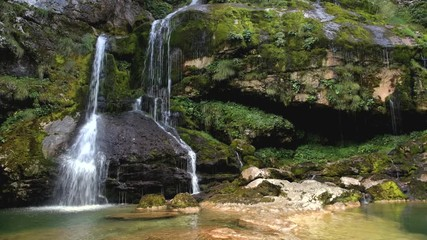 Wall Mural - Scenic Virje Waterfall in Soca Valley, Slovenia. Summer Time Scenery.