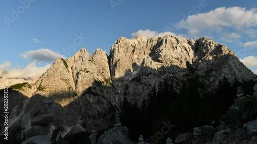 Wall mural Front Window on Mount Prisojnik. The Julian Alps in Slovenia. Scenic Summer Vista.