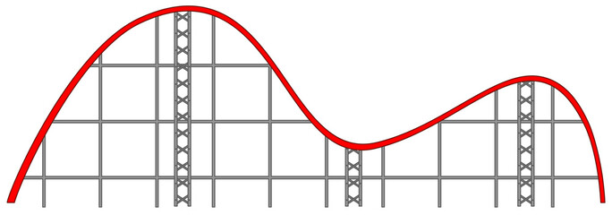 Roller coaster track on white background