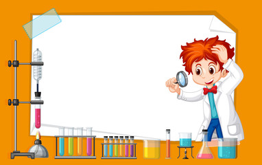 Wall Murals Kids Frame template design with kid in science lab