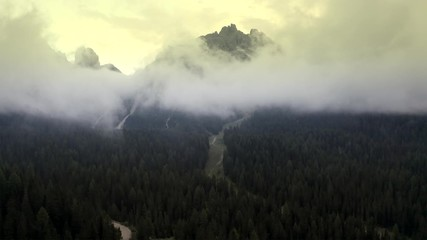 Wall Mural - Aerial Footage of the Road to Mangart Mountain in Norther Slovenia. Alpine Landscape.
