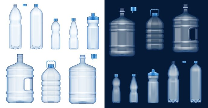 Water bottle mockups. Plastic drink containers