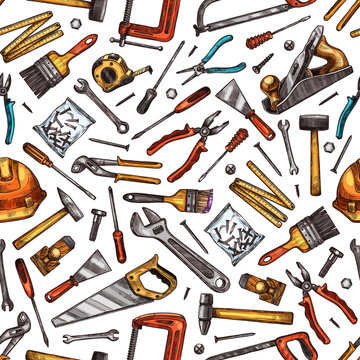 Tools seamless pattern of hammer, screwdriver, saw