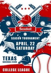 Baseball balls, bats and player caps. Sport club
