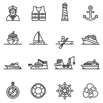 boat and ship icon set with white background. Thin line style stock vector.