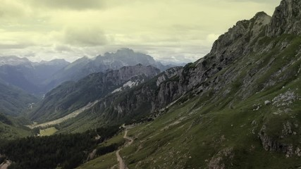 Wall Mural - Scenic Aerial Footage of the Norther Slovenia Julian Alps Region