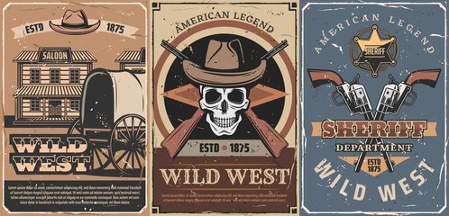 Wild West cowboy skull, sheriff guns, star, saloon
