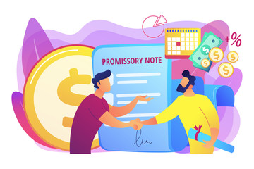 Promise to pay. Money borrowing document. Credit deal, legal contract. Promissory note, commercial paper form, simple loan agreement concept. Bright vibrant violet vector isolated illustration