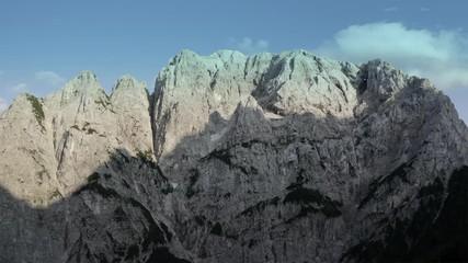 Wall Mural - Front Window on Mount Prisojnik. The Julian Alps in Slovenia. Scenic Summer Vista. Aerial Footage