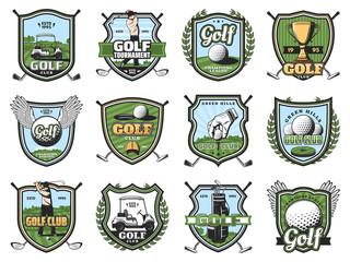 Golf sport balls, clubs and golfers, trophy, tee