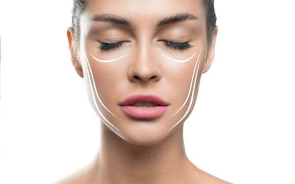 Face lift treatment anti aging skincare woman concept. woman face with lifting lines on white background.