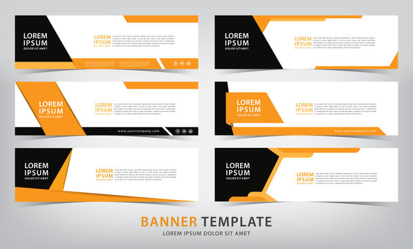 set of six  business orange web banner templates, vector illustration
