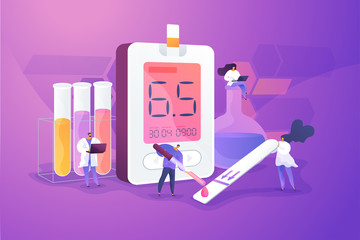 Medical laboratory research. Blood sample analysis. Tube lab testing. Disease diagnostics. Diabetes mellitus, Type 2 diabetes, insulin production concept. Vector isolated concept creative illustration