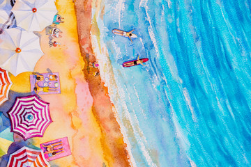 Painting watercolor seascape Top view colorful.