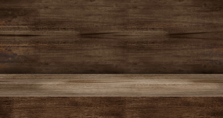 wooden texture table product display background.3d perspective studio photography stand.banner mokc...