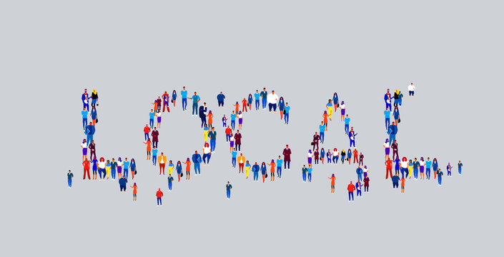 businesspeople crowd gathering in shape of local word different business people employees group standing together social media community concept flat horizontal