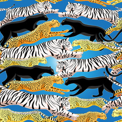 Seamless bright jungle pattern of panthers, cheetahs and tigers