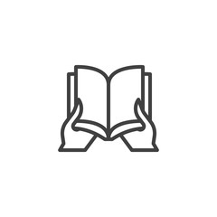 Reading book line icon. linear style sign for mobile concept and web design. Hand holding book outline vector icon. Symbol, logo illustration. Vector graphics