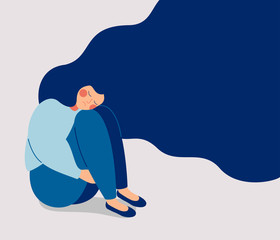 Sad lonely Woman in depression with flying hair. Young unhappy girl sitting and hugging her knees. Depressed teenager. Colorful vector illustration in flat cartoon style