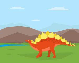 Dinosaur on Beautiful Mountain Landscape, Spinosaurus Prehistoric Animal on Nature Vector Illustration