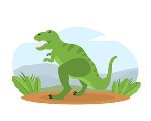 Tyrannosaurus on Mountain Landscape, Prehistoric Animal on Nature Vector Illustration