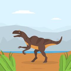 Dinosaur on Mountain Landscape, Prehistoric Animal on Nature Background Vector Illustration
