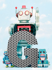 Fototapete - retro robots holding a big  metal letter G with blue sky