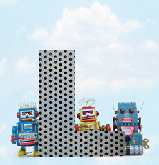 Wall Mural - retro robots holding a big  metal letter L with blue sky