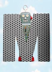 Fototapete - retro robots holding a big  metal letter  M with blue sky