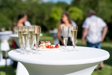 Welcome drink, view of glasses filled with champagne on a table in a garden - selective focus