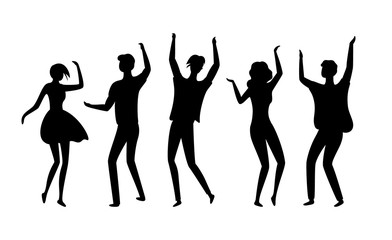 Clubbers vector, silhouette of isolated people having fun in clubs, dancers flat style man and woman moving bodies and raising hands up partying youth