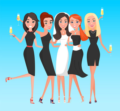 Smiling women hugging each other, bachelorette party. Happy bride standing with females, ladies wearing dress holding glass of champagne, hen-party vector