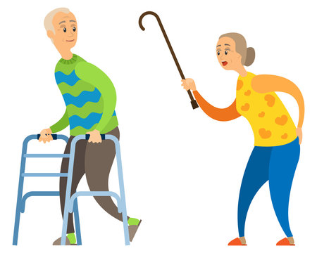 Aged woman scolds disabled elderly man vector, emotional people, senior person with invalid crutches running away looking back, wooden stick of lady