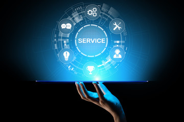 Service support customer help call center Business technology button on virtual screen.