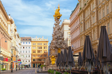 Wall Mural - Graben Street in Vienna with the Plague Column, Austria, morning view