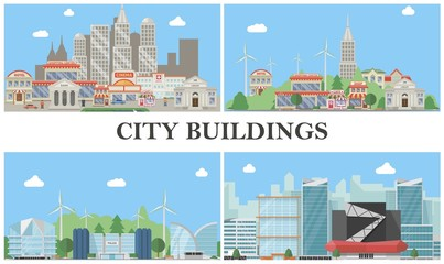 Flat City Landscapes Composition