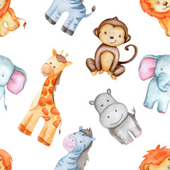 Watercolor pattern with cute animals, pattern, baby Wallpapers. African Wallpaper, giraffe, Hippo, elephant, lion, monkey