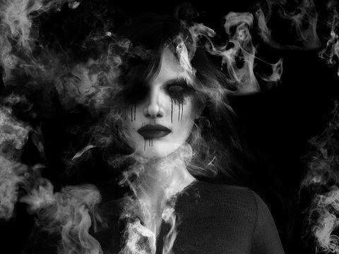 3D rendering of ghost woman dissolving in smoke.
